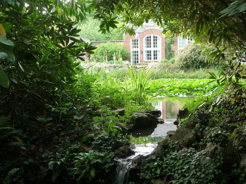 tilney hall, water garden, stream, waterfall, water lillies, rockery, garden building, historic,