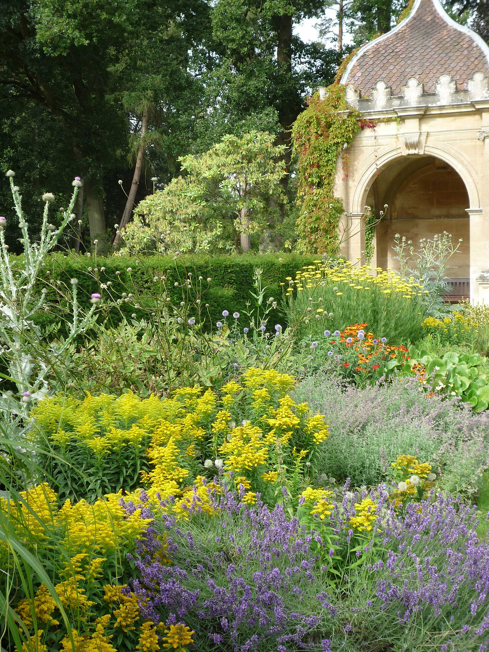 folly, gazebo, flower border, gertrude jekyll, arch, hotel garden, tilney hall,