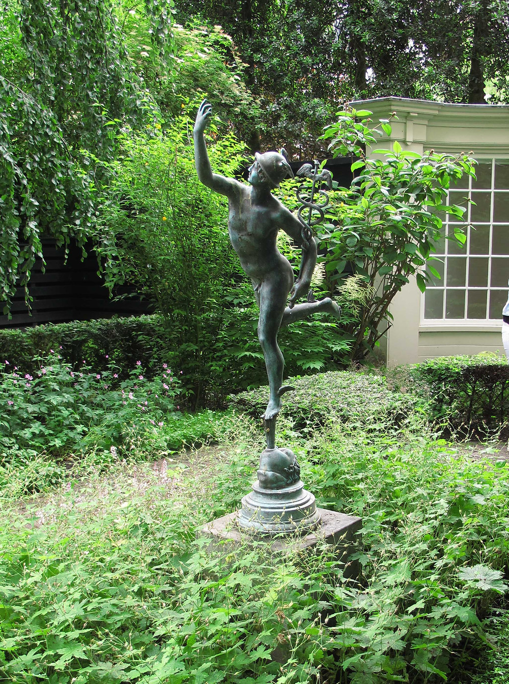 classical statue, Mercury, formal garden, topiary, summerhouse