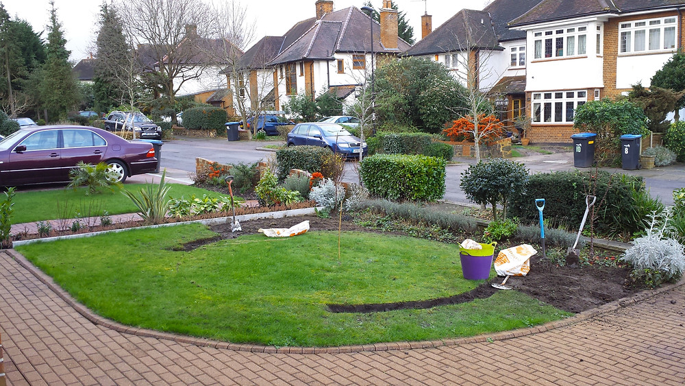 Front garden being built