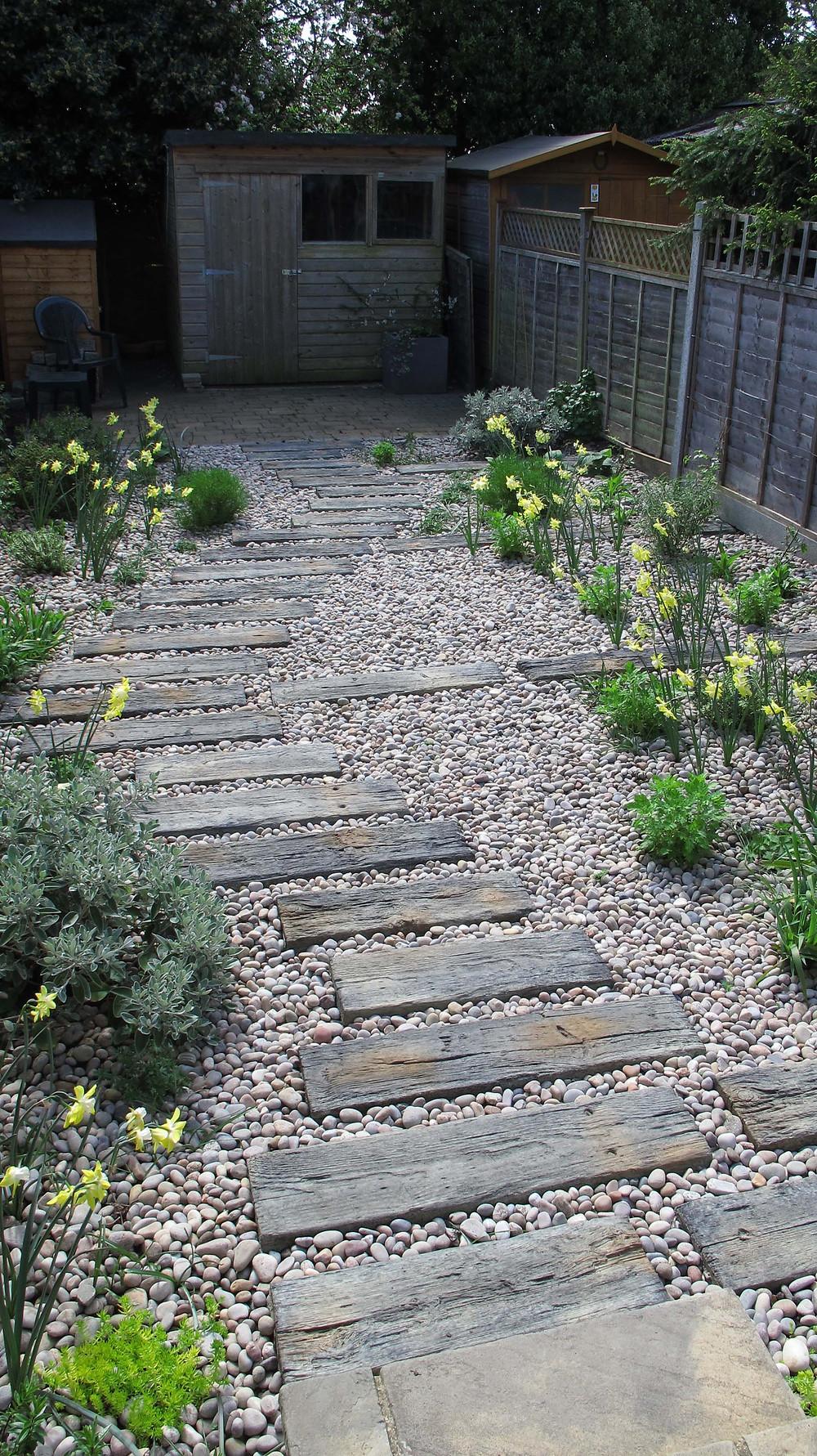 railwaty sleeper path, concrete sleepers, garden path, daffodils, pebbles, seaside garden,