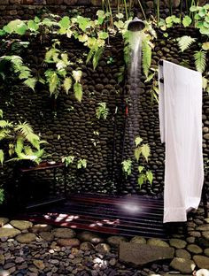 outdoor, outside, shower, cobbles, stone, decking,