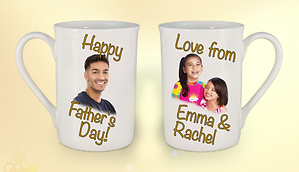 Personalised Fathers day Mug gold double