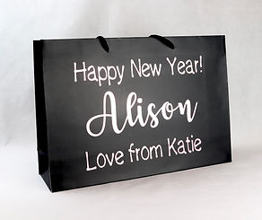 Bali black personalised gift bag