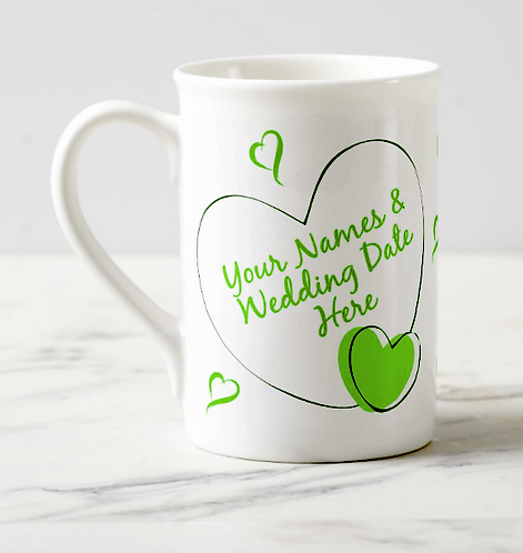 """She (or He) Said I Do!!!"" on Bone China Mug with Wedding Date & Names"