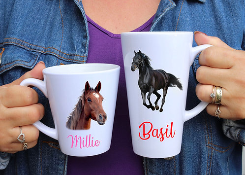Personalised Pet Portrait Latte Mugs in a choice of 2 sizes