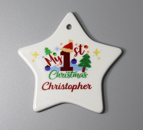 Personalised My 1st Christmas Ceramic Star
