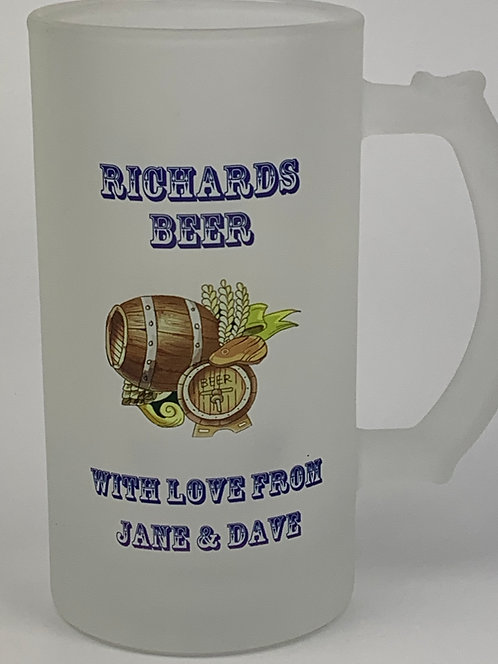 Personalised 16oz Frosted Glass Beer Stein