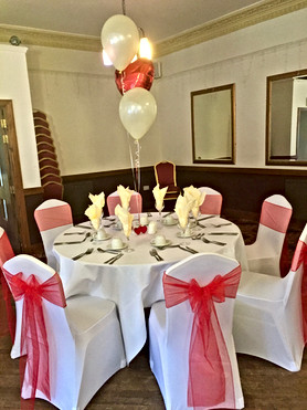 Chair Covers, sashes and Matching balloons