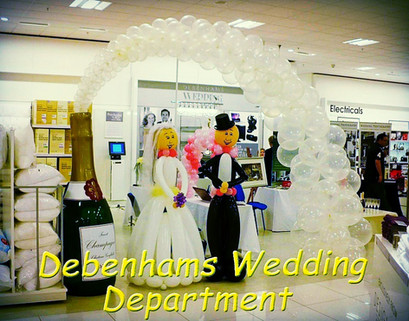 Balloon Bride, Groom and Champagne Arch.