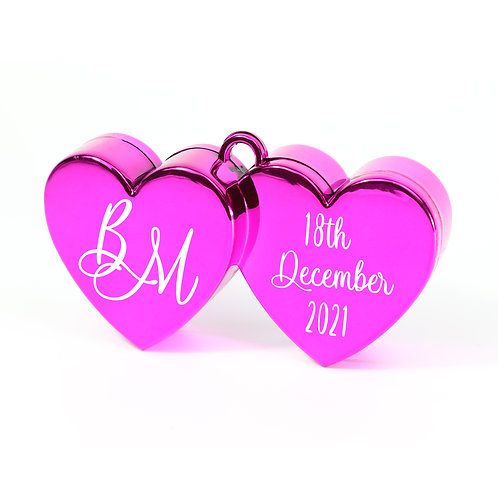 Personalised Double Heart Weights