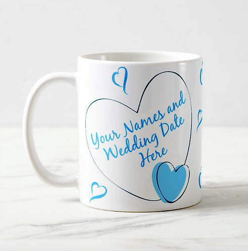 """She (or He) Said I Do!!!"" on 10oz 'Durham' Mug with Wedding Date & Names"