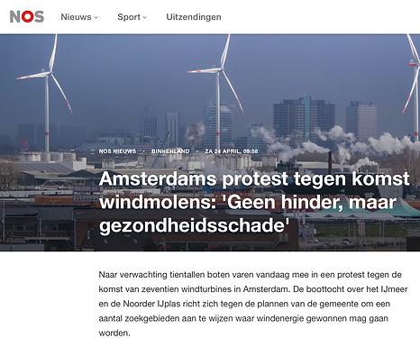 Amsterdams protest tegen komst windmolens: 'Geen hinder, maar gezondheidsschade'