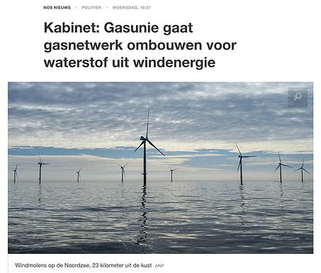 Kabinet: Gasunie gaat gasnetwerk ombouwen voor waterstof uit windenergie