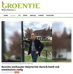 Bunniks wethouder Heijmerink: Bunnik heeft ook windmolens nodig