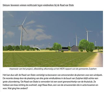 Unicum: bewoners winnen rechtszaak tegen windmolens bij de Raad van State