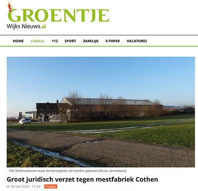 Groot juridisch verzet tegen mestfabriek Cothen