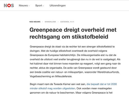 Greenpeace dreigt overheid met rechtsgang om stikstofbeleid