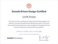 Growth Driven Design Certificate
