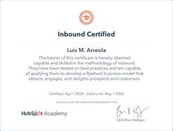 Luis M. Arreola - Inbound Certificate