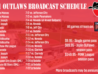 Joplin Outlaws Announce Streaming Schedule and Options for 2021 season