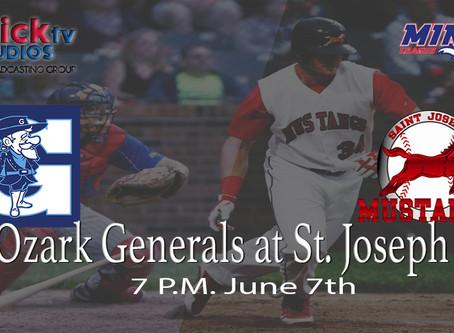 Live tonight Ozark Generals at St. Joseph Mustangs