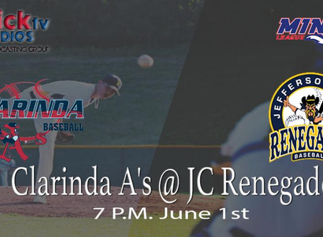 M.I.N.K Action Clarinda Travels to Jefferson City for the Renegades Home Opener Watch Here