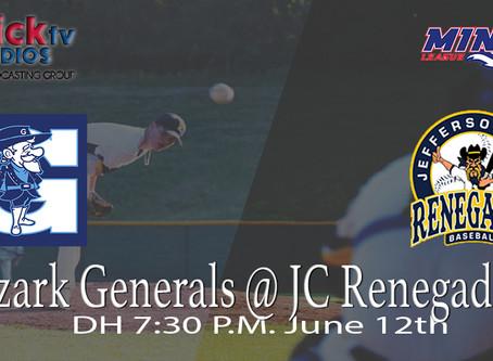 Ozark Generals @ JC Renegades (Game Two Double Header)