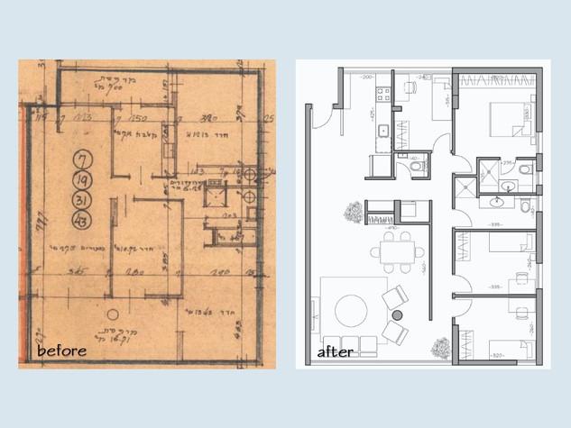 """לפני ואחרי, דירת 5 חדרים 115 מ""""ר."""
