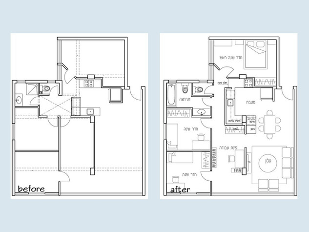 """לפני ואחרי, דירת 4 חדרים 100 מ""""ר."""