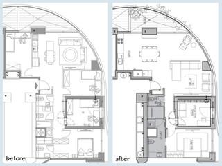 """לפני ואחרי, דירת 3 חדרים 100 מ""""ר"""