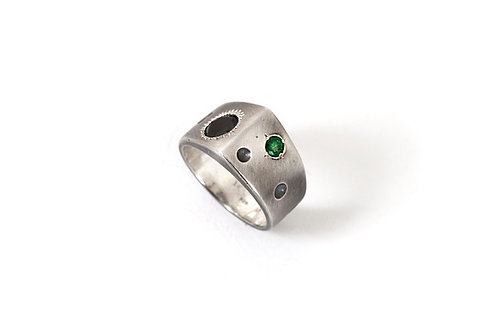 Sterling Silver Men's Ring with Emerald and Black Zirconium