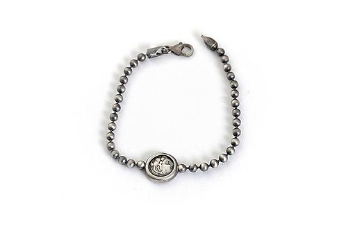 Men Ball Chain Bracelet with Roman Coin Replica Medallion