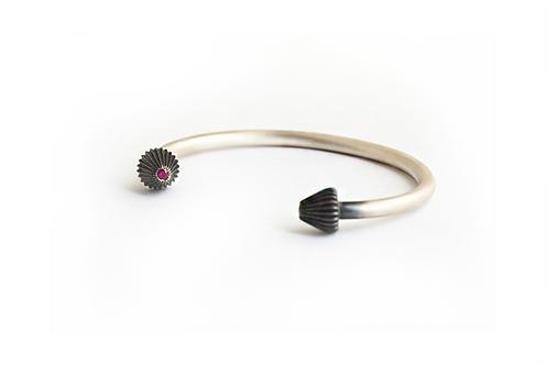 Men Bangle Bracelet with Ruby Gemstone