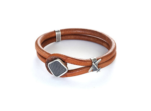 Leather And Sterling Silver Airplane Bracelet