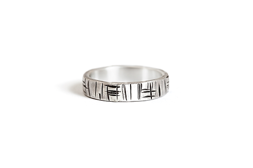 Japanese Script  Ring for Him in Sterling Silver
