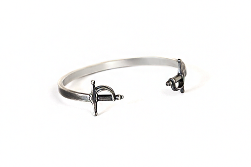 Double Sword Sterling Silver Bangle Bracelet