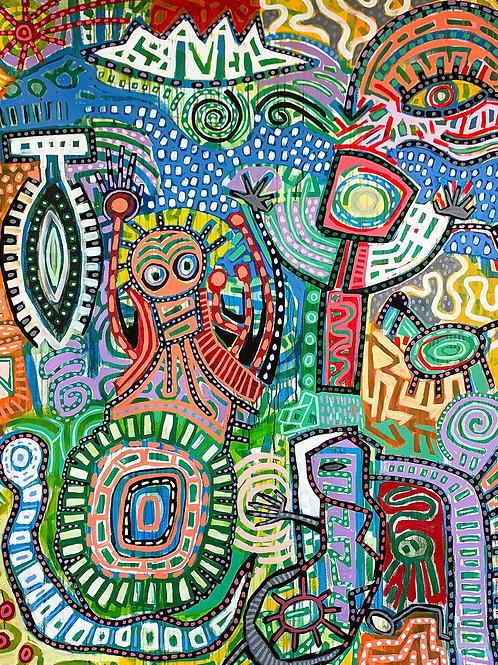"Pyroglyphs, 64""x80"", Acrylic on Stretched Canvas"