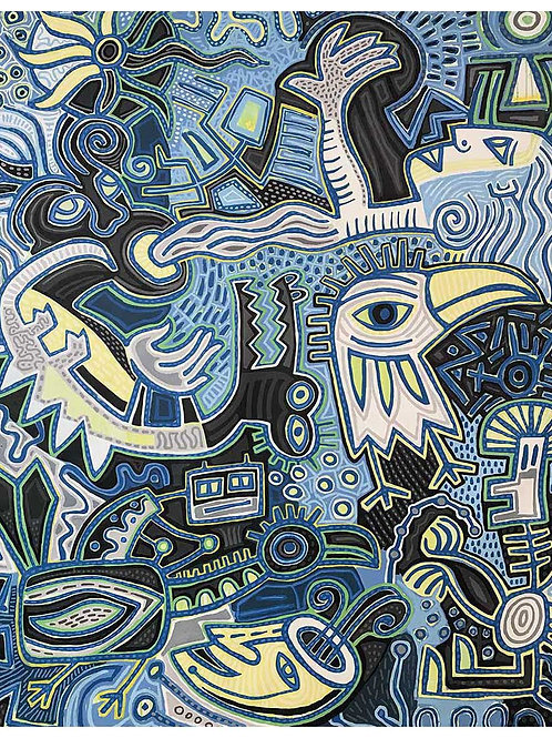 "Blue Bird, 86""x 70"", Acrylic on Stretched Canvas"