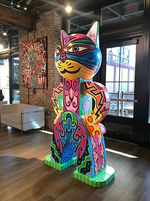 "Super Cat, 90""x47""x26"", Building materials and acrylic paint"
