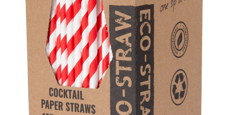 Red/White Cocktail Paper Eco Straws