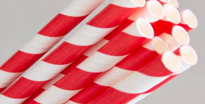 Red/White Paper Eco Straws