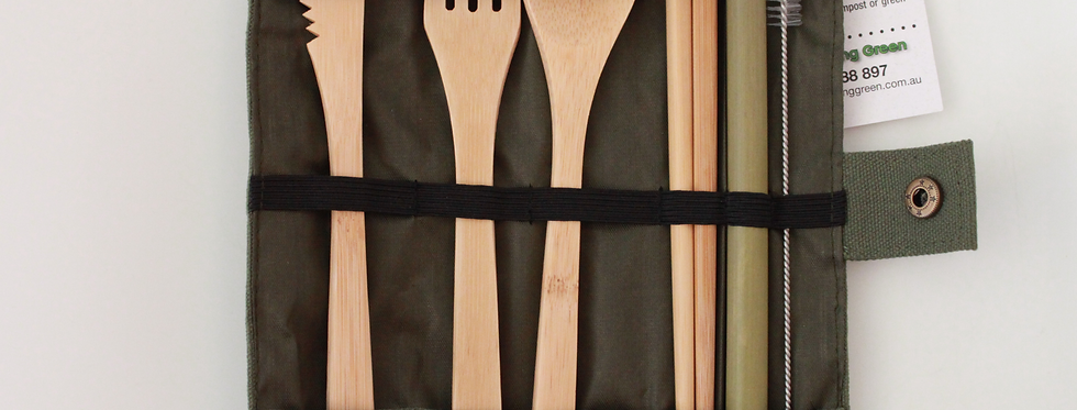 Bamboo Cutlery, Chopsticks and Straw Pack