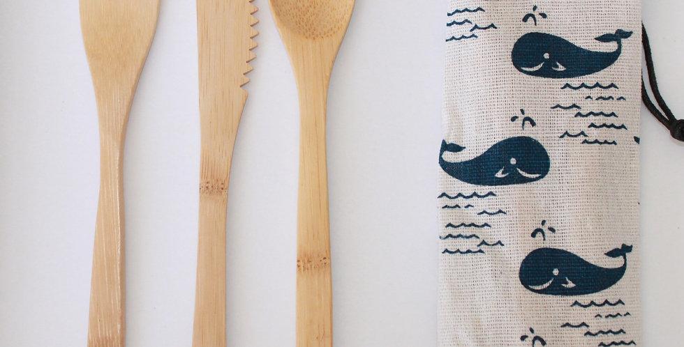 3 Piece Bamboo Cutlery Set