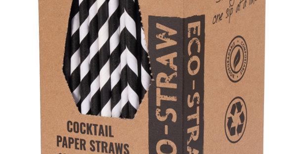 Black/White Cocktail Paper Eco Straws