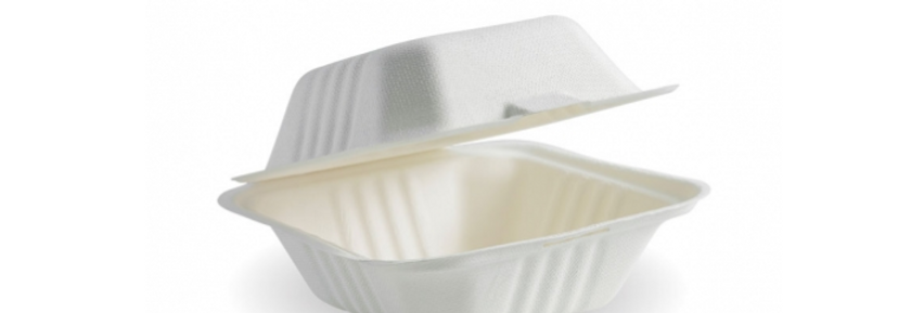 White Square Biocane Clamshell Takeaway Containers
