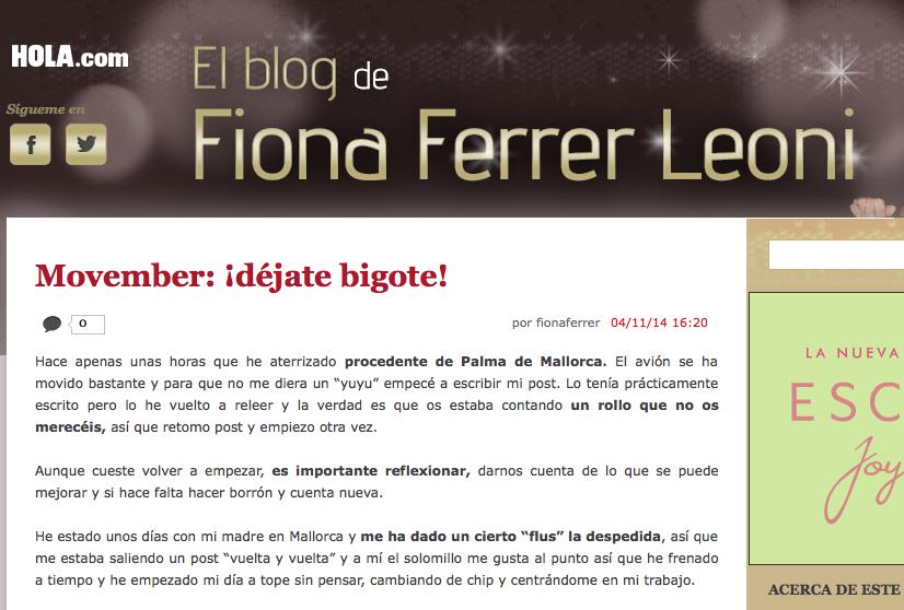 Fiona Ferrer Blog hola.com