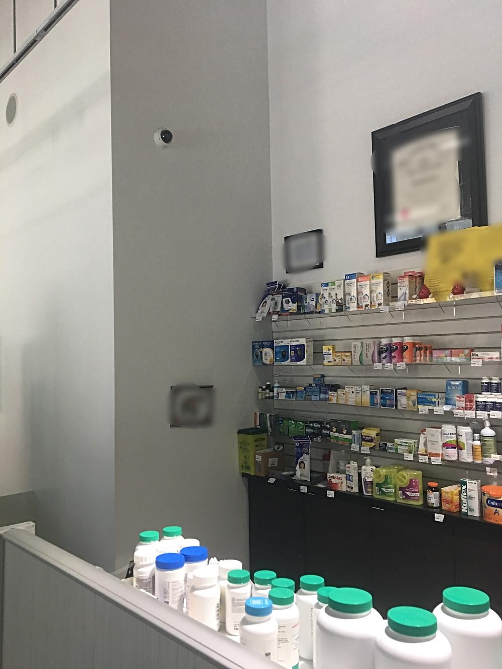 Security camera viewing medicine dispensary