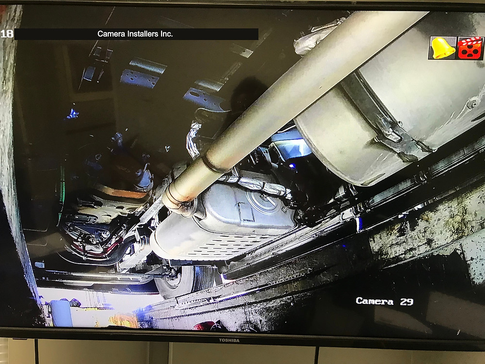 Image of the pit camera viewing the under carriage of trucks