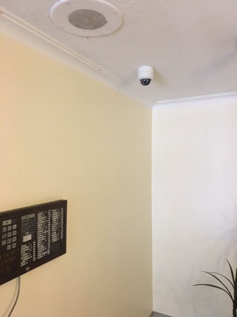 Camera installed in main lobby protecting tenants and visitors